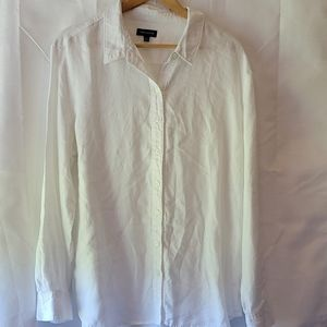 Lord&Taylor white linen Button up shirt